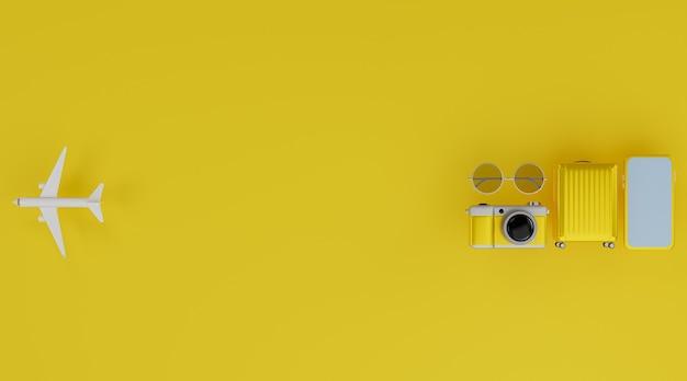 Maquette mobile à écran blanc avec avion, appareil photo, bagages et lunettes de soleil
