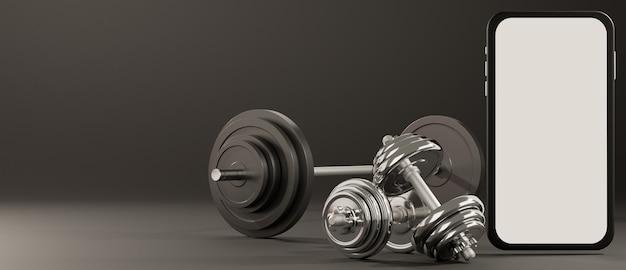 Maquette mobile à écran blanc avec équipement de fitness sport