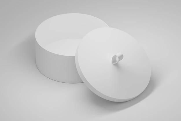 Maquette de modèle avec boîte d'emballage ronde ouverte sur blanc