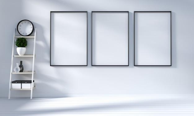 Maquette moderne dans le salon blanc avec plancher en bois blanc. rendu 3d