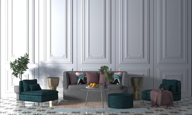 Maquette moderne décor design d'intérieur de salon blanc confortable et fond de texture de mur blanc, rendu 3d