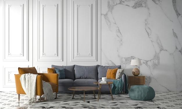 Maquette moderne décor design d'intérieur de salon confortable et fond de texture de mur blanc, rendu 3d