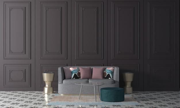 Maquette moderne décor design d'intérieur de salon et fond de texture de mur blanc, rendu 3d