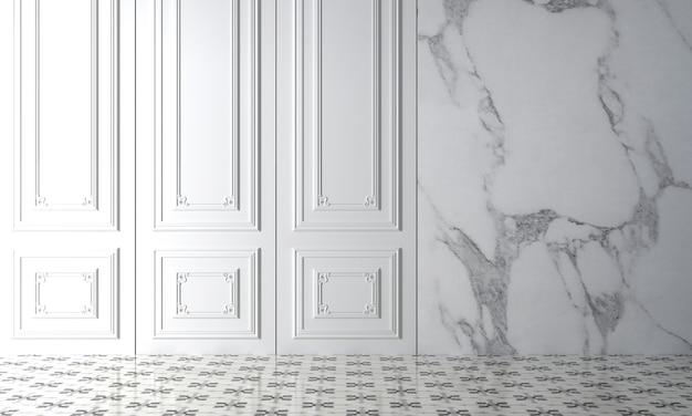 Maquette moderne décor design d'intérieur de salon vide confortable et fond de texture de mur blanc, rendu 3d