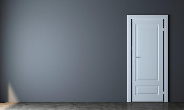 Maquette moderne décor design d'intérieur de salon vide et fond de texture de mur bleu vide et porte blanche