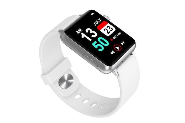 Maquette de montre intelligente moderne blanche avec bracelet sur fond blanc. rendu 3d