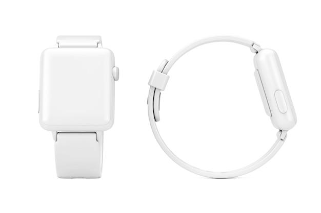 Maquette de montre intelligente moderne blanche avec bracelet en style argile sur fond blanc. rendu 3d