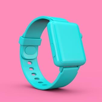 Maquette de montre intelligente moderne bleue avec bracelet de style bicolore sur fond rose. rendu 3d