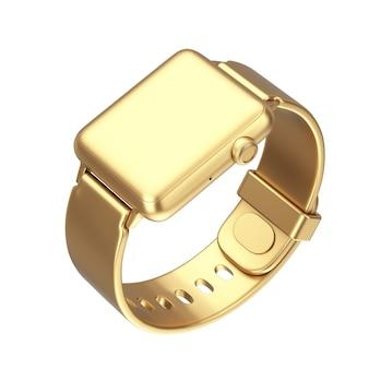 Maquette de montre intelligente moderne dorée avec bracelet sur fond blanc. rendu 3d