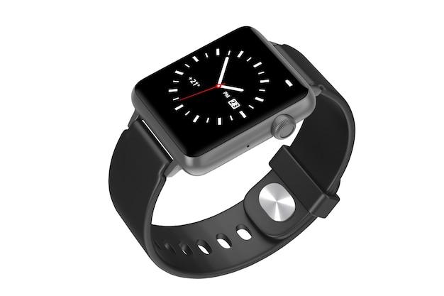 Maquette de montre intelligente moderne noire avec bracelet sur fond blanc. rendu 3d