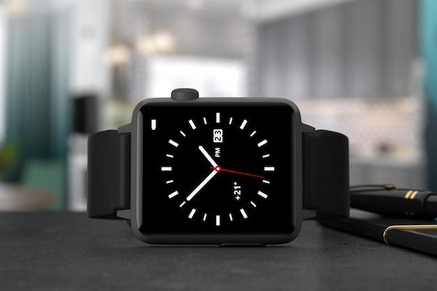 Maquette de montre intelligente moderne noire avec sangle sur un gros plan extrême de table. rendu 3d