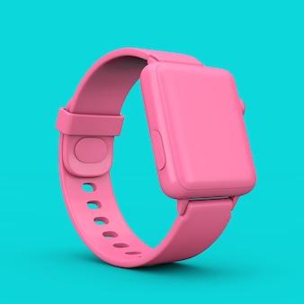 Maquette de montre intelligente moderne rose avec bracelet de style bicolore sur fond bleu. rendu 3d