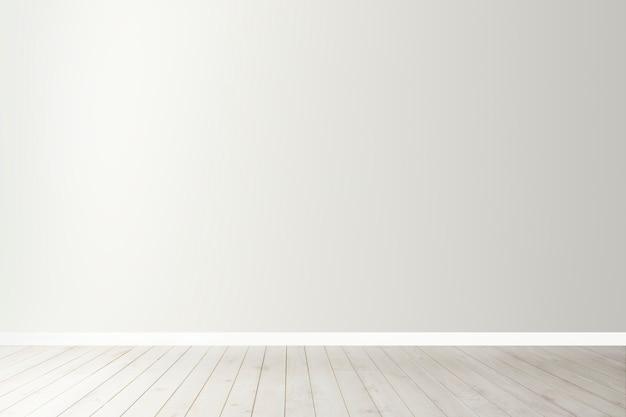 Maquette de mur de béton vierge blanche avec un plancher en bois