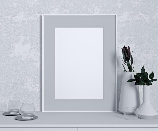 Maquette de mur blanc dans un intérieur moderne, gros plan avec plante verte sur table blanche, design minimaliste, rendu 3d