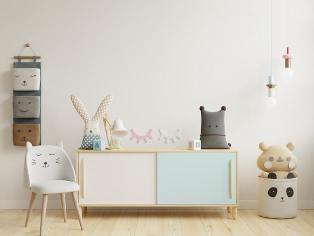 Maquette de mur dans la chambre des enfants en fond de mur blanc