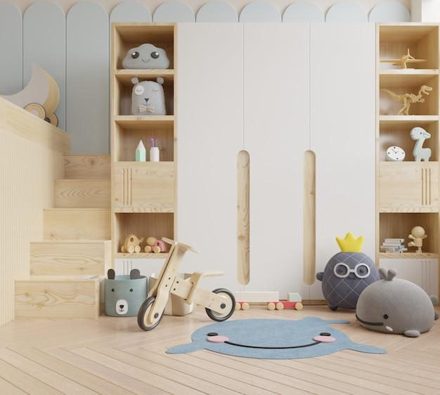 Maquette de mur dans la chambre des enfants en mur blanc