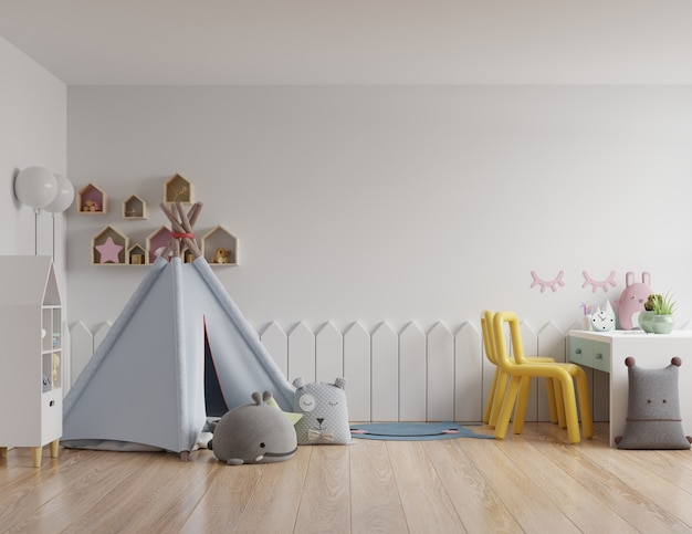 Maquette de mur dans la chambre des enfants sur un mur blanc