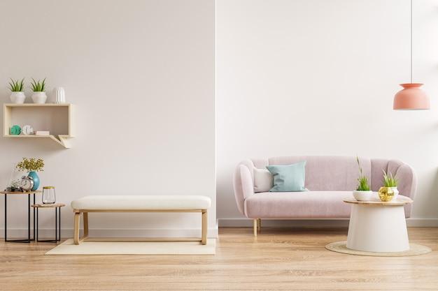 Maquette de mur intérieur avec canapé et armoire dans le salon avec fond de mur blanc vide. rendu 3d