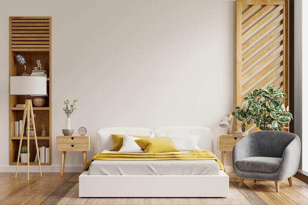 Maquette de mur intérieur de chambre à coucher dans le style de ferme avec le rendu fauteuil.3d