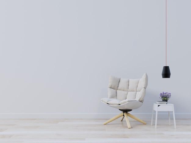 Maquette de mur intérieur avec fauteuil et lampe, plante sur fond blanc vide.