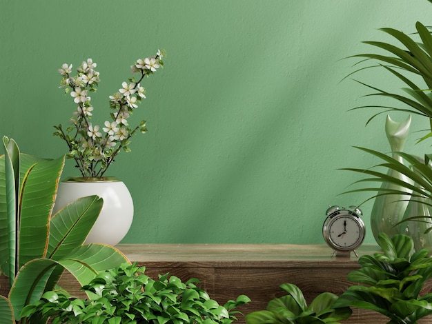 Maquette De Mur Intérieur Avec Plante, Mur Vert Et étagère. Rendu 3d Photo Premium