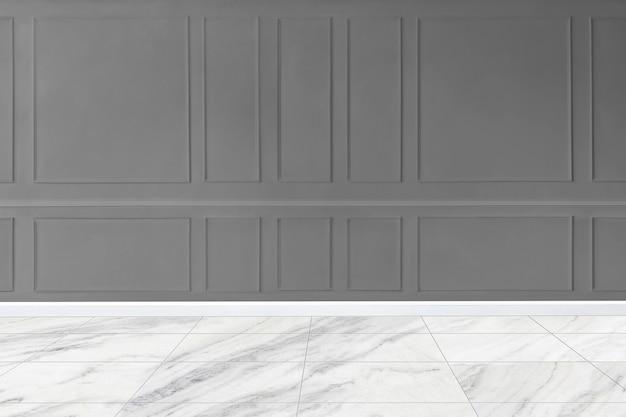 Maquette de mur à motifs gris avec sol en marbre
