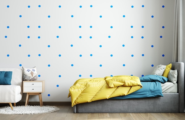 Maquette murale à l'intérieur de la chambre d'enfant bleu. intérieur de la pépinière de style scandinave. rendu 3d, illustration 3d