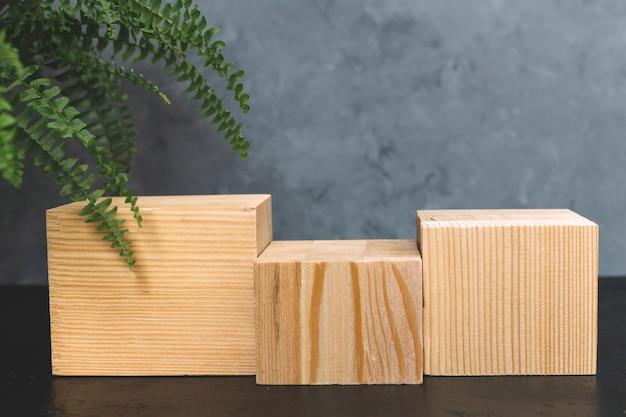 Maquette naturelle de mousse, bois, écorce d'arbre et fougère pour les cosmétiques sur fond noir et gris.