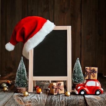 Maquette de noël pour la bonne année. composition festive avec espace