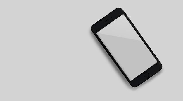 Maquette d'un nouveau smartphone avec un écran blanc vue de dessus en gros plan.