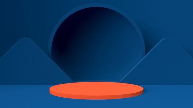 Maquette d'objet de rendu 3d, forme abstraite et géométrie de couleur bleu rouge et blanc.
