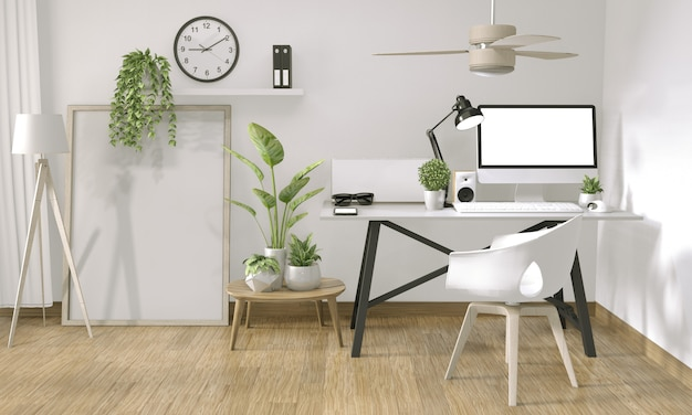 Maquette ordinateur affiche dans le style de bureau zen et décoration sur le bureau de la table supérieure