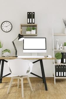 Maquette ordinateur avec écran vide et décoration dans la salle de bureau maquette rendu en arrière-plan 3d