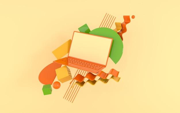 Maquette d'ordinateur portable et de différents objets géométriques