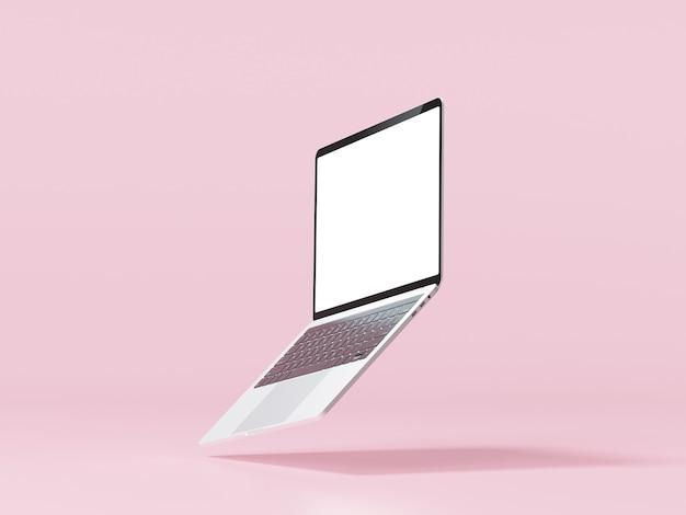 Maquette d'ordinateur portable minimale sur fond rose