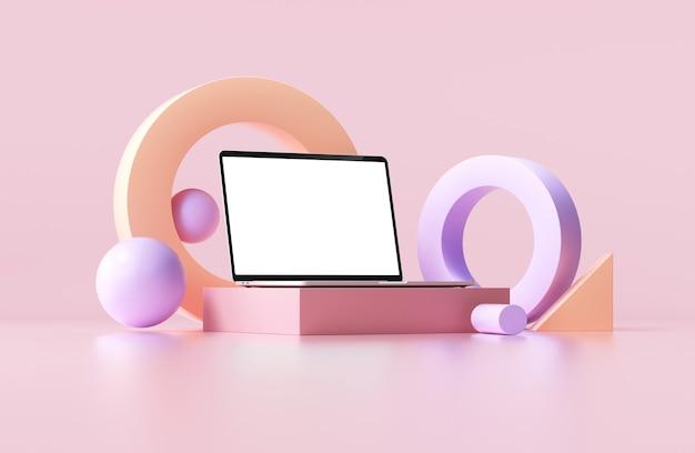 Maquette d'ordinateur portable minimale avec des formes géométriques abstraites sur fond rose