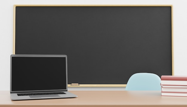 Maquette d'ordinateur portable avec tableau blanc derrière