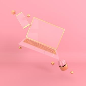 Maquette d'ordinateur portable et de téléphone dans un style minimaliste moderne.