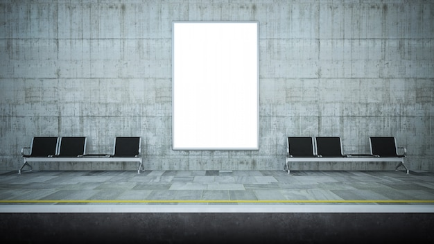 Maquette de panneau d'affichage vide sur la station de métro