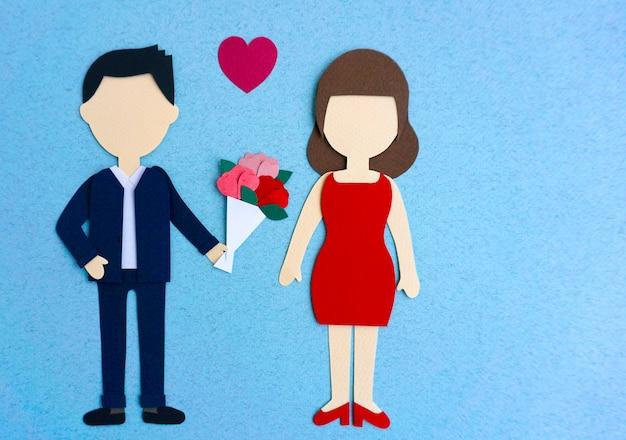 Maquette en papier pour couple amoureux