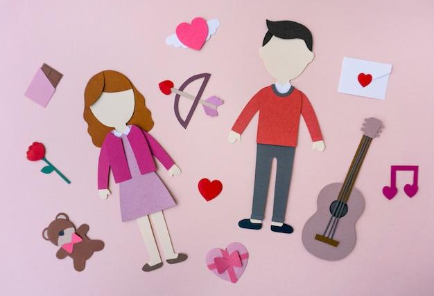 Maquette en papier de la saint-valentin