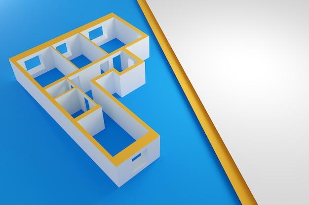 Maquette en papier vide d'un immeuble avec trois chambres
