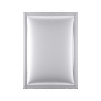 Maquette de paquet de sac vide en aluminium sur un fond blanc. rendu 3d