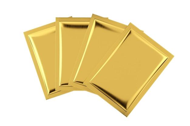 Maquette de paquets de sacs vierges en aluminium doré sur fond blanc. rendu 3d