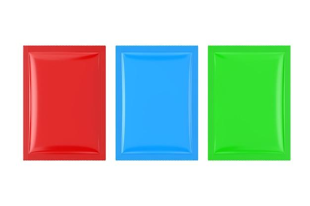 Maquette de paquets de sacs vierges colorés sur fond blanc. rendu 3d