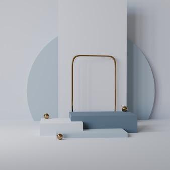 Maquette de piédestal vide stade cube pour produit avec fond abstrait rendu 3d