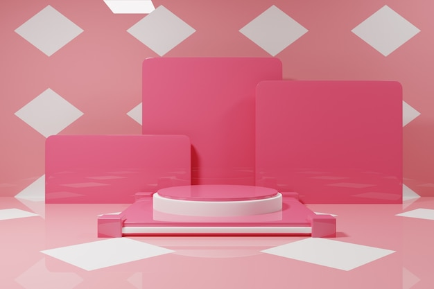 Maquette de podium rose minimal avec fond blanc