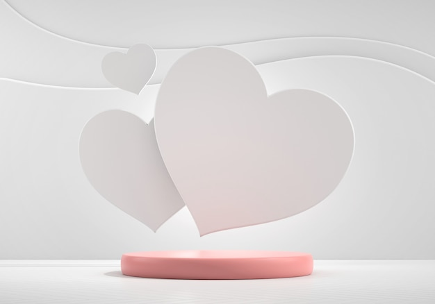 Maquette de podium de scène avec présentation de produits cardiaques, rendu 3d