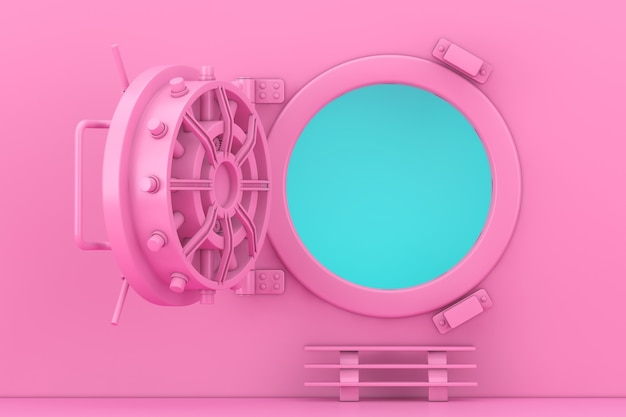 Maquette de porte de coffre-fort de banque rose ouverte dans un style bicolore sur fond bleu. rendu 3d