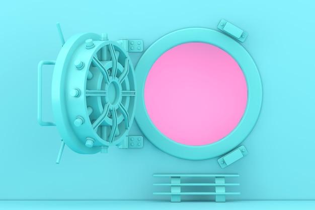 Maquette de porte de coffre-fort blue bank ouverte dans un style bicolore sur fond rose. rendu 3d